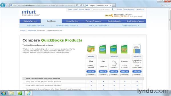 Choosing the right QuickBooks edition: QuickBooks Pro 2012 Essential Training