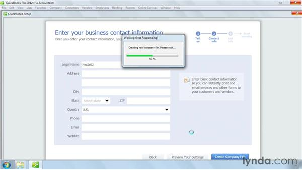 Creating a company file: QuickBooks Pro 2012 Essential Training