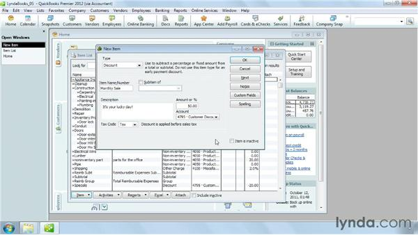 Setting up discounts and other charges: QuickBooks Pro 2012 Essential Training