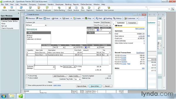 Adding items to an invoice: QuickBooks Pro 2012 Essential Training