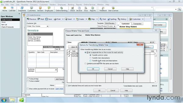 Adding billable time and cost to an invoice: QuickBooks Pro 2012 Essential Training