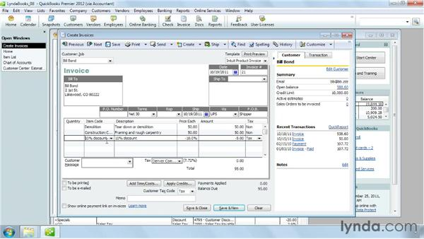 Using subtotals, discounts, and other charges: QuickBooks Pro 2012 Essential Training