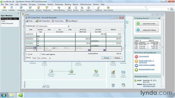Creating a statement charge: QuickBooks Pro 2012 Essential Training