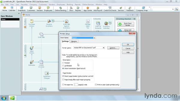 Setting up print options: QuickBooks Pro 2012 Essential Training