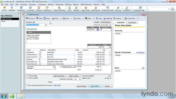 Emailing a sales form: QuickBooks Pro 2012 Essential Training
