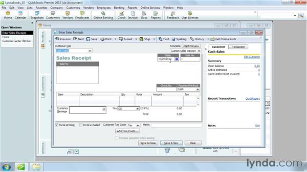 Creating a sales receipt for a cash sale: QuickBooks Pro 2012 Essential Training