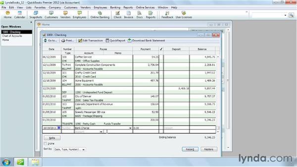 Handling bounced checks: QuickBooks Pro 2012 Essential Training