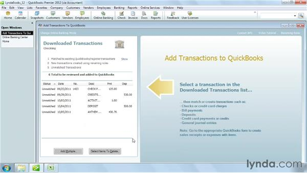 Downloading online banking transactions: QuickBooks Pro 2012 Essential Training
