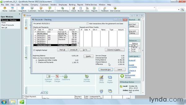 Correcting discrepancies: QuickBooks Pro 2012 Essential Training