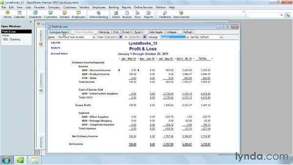 Running a report: QuickBooks Pro 2012 Essential Training