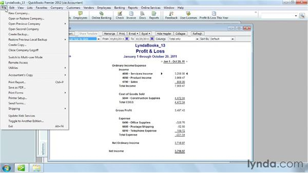 Printing or saving a report: QuickBooks Pro 2012 Essential Training