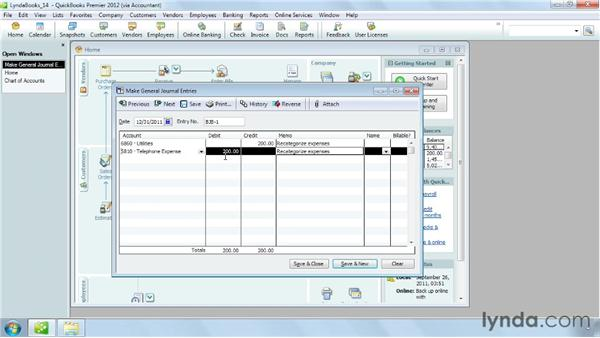 Creating a general journal entry: QuickBooks Pro 2012 Essential Training