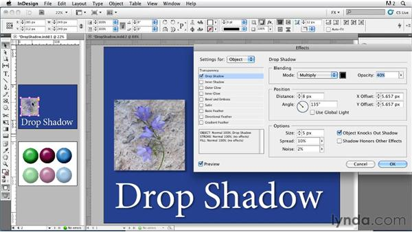 018 Exploring Drop Shadow Settings: InDesign FX