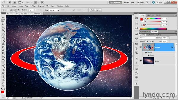 Filling a stroke with Behind and Clear: Photoshop Masking and Compositing: Advanced Blending