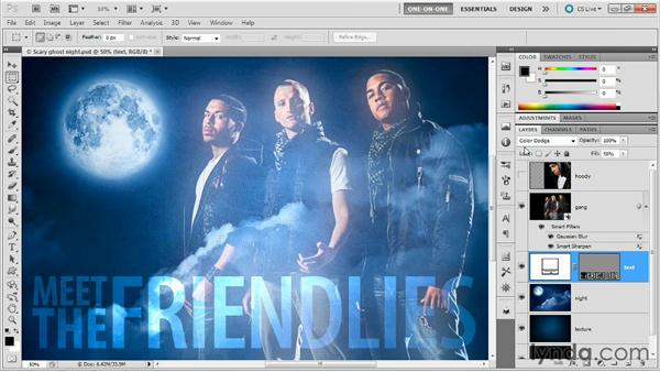 Blending white type, darkening shadows: Photoshop Masking and Compositing: Advanced Blending