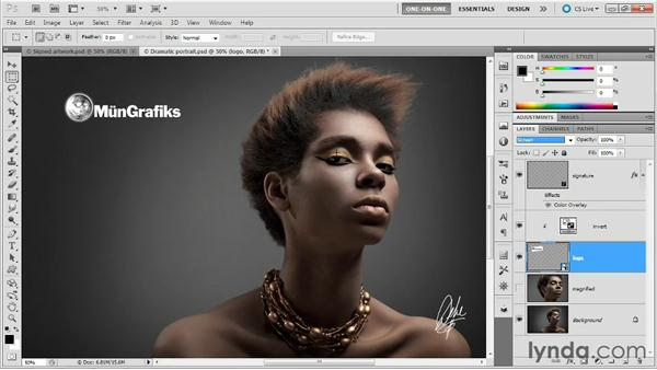 Making dark line art bright: Photoshop Masking and Compositing: Advanced Blending