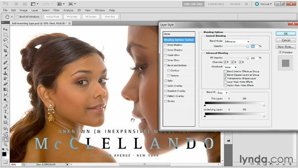 Making inversion type black and white: Photoshop Masking and Compositing: Advanced Blending