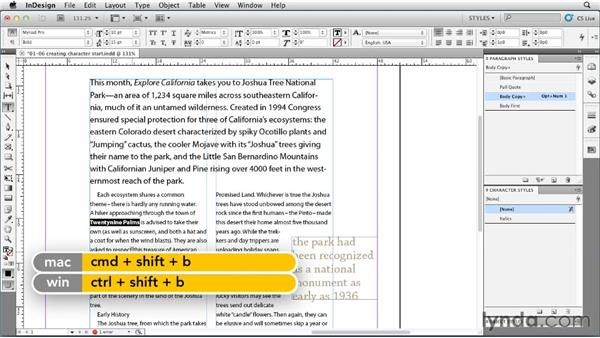 Creating and applying character styles: InDesign Styles in Depth