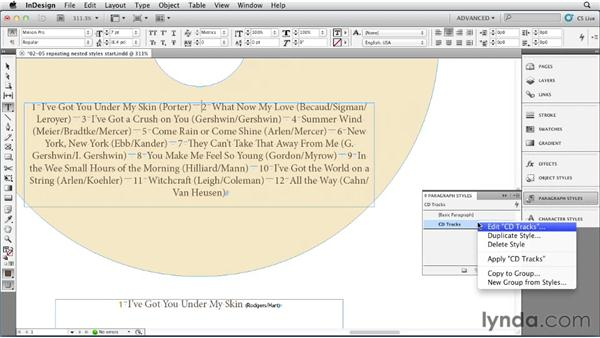 Setting up a repeating nested style: InDesign Styles in Depth