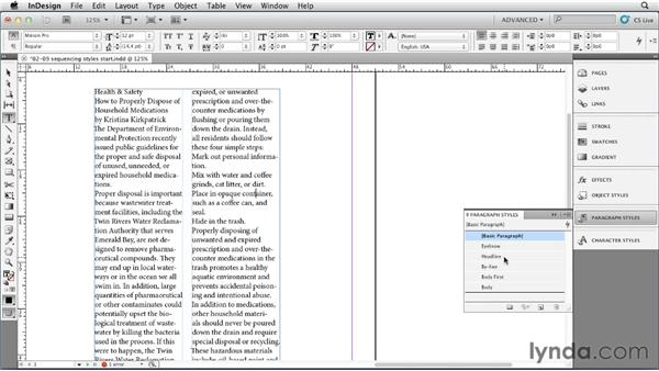 Establishing a sequence of paragraph styles: InDesign Styles in Depth
