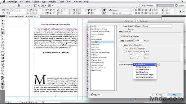 Forcing paragraphs to specific locations: InDesign Styles in Depth