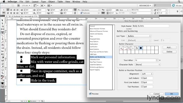 Creating a bulleted list: InDesign Styles in Depth