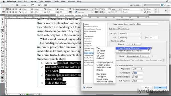 Creating a simple numbered list: InDesign Styles in Depth