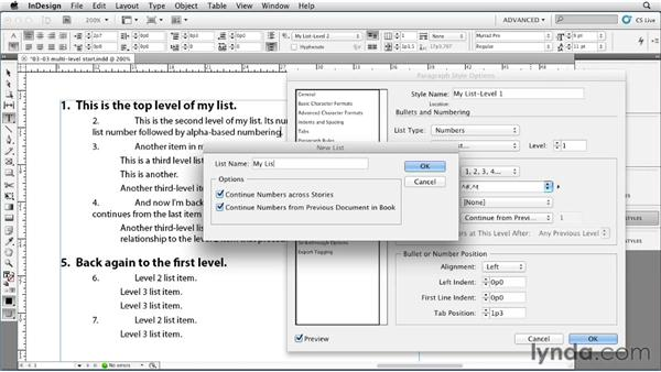 Defining a multilevel hierarchical list: InDesign Styles in Depth