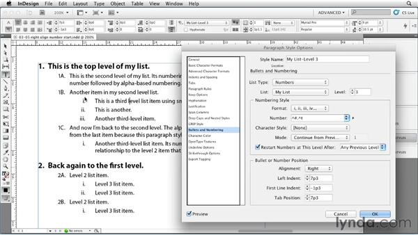 Right-aligning list numbers: InDesign Styles in Depth
