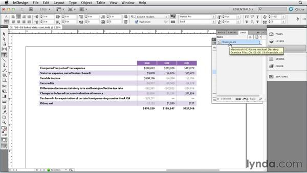 Maintaining links between styled tables and external data: InDesign Styles in Depth