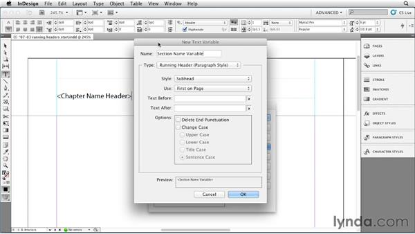 Generating paragraph style-based headers with text variables: InDesign Styles in Depth
