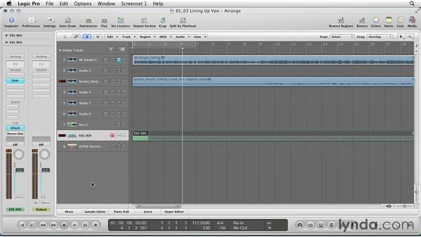 Lining up vocals over a kick drum: Remixing a Song in Logic Pro