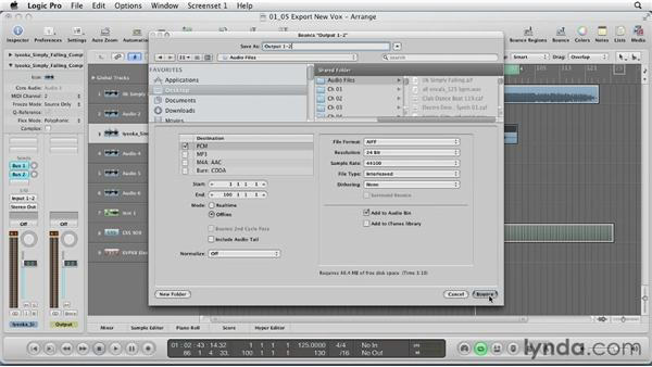 Exporting time-stretched vocals and importing into a session: Remixing a Song in Logic Pro