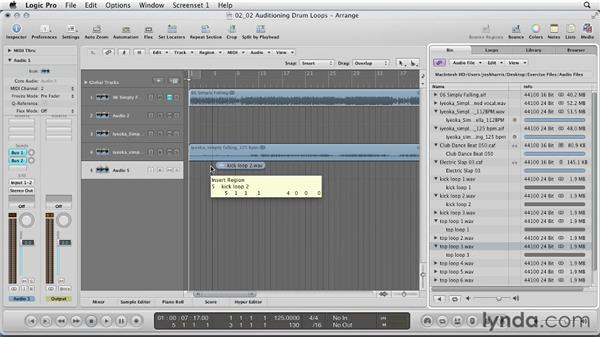 Auditioning drum loops: Remixing a Song in Logic Pro