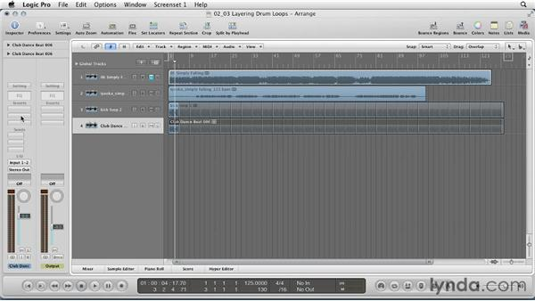 Layering drum loops: Remixing a Song in Logic Pro