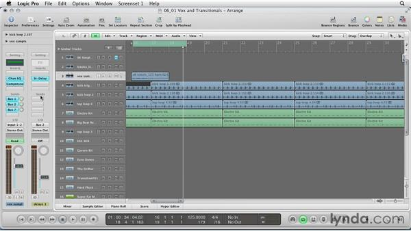 Creating vocal samples and transitional sounds: Remixing a Song in Logic Pro