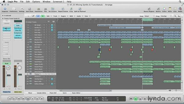 Mixing synths and transitional sounds: Remixing a Song in Logic Pro