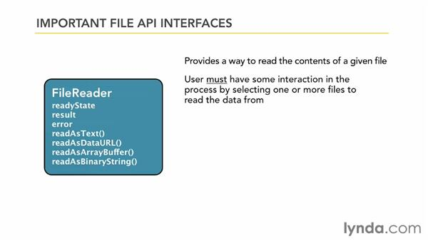 Overview of the File API interfaces: HTML5: File API in Depth