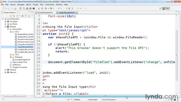 Using the File Input form element: HTML5: File API in Depth