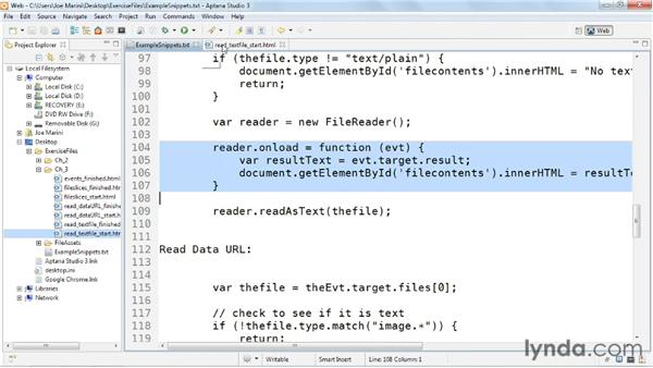Reading data as text: HTML5: File API in Depth