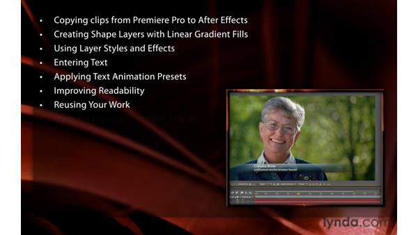 Welcome: Premiere Pro and After Effects: Creating Title Graphics