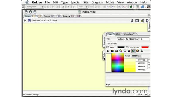 adding a color or image to the page background: Learning GoLive 6