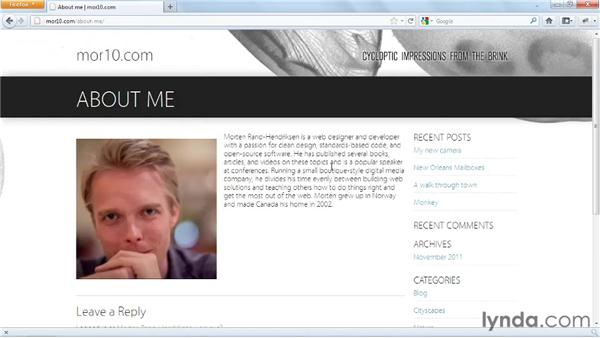 Tour of the project: Start with a Theme: Photography Portfolios in WordPress