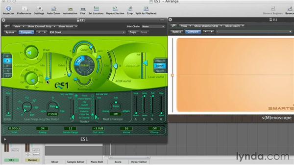 Using key follow on the cutoff: Virtual Instruments in Logic Pro