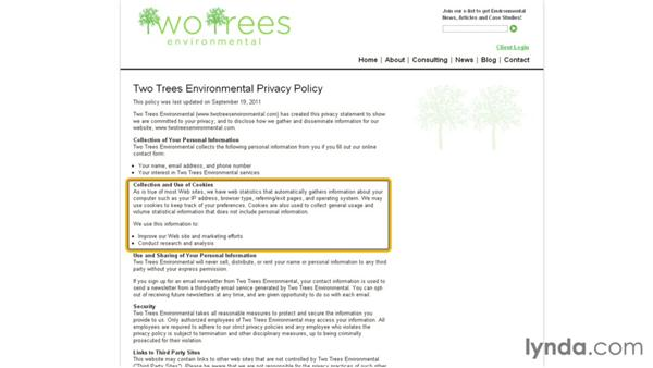 Privacy policy: Online Marketing Basics
