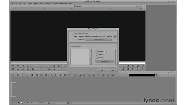 Touring the Select Project window: Avid Media Composer 6 Essential Training