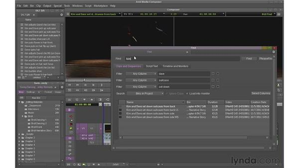 Using the Find tool: Avid Media Composer 6 Essential Training