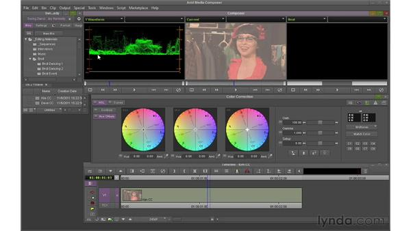 Using the Y-Waveform monitor to set whites and blacks: Avid Media Composer 6 Essential Training