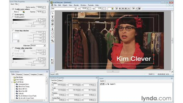 Formatting and enhancing text using Avid Marquee: Avid Media Composer 6 Essential Training