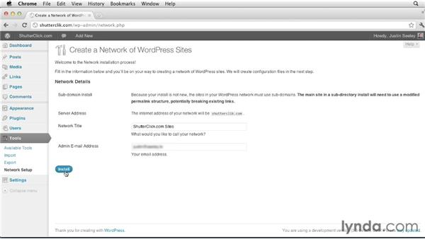 Installing your network: Creating and Managing a Blog Network with WordPress